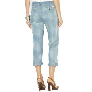 Ralph Lauren 2 Faded Blue Denim Cropped Jeans NEW